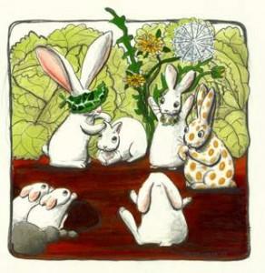 Her leger kaninerne blindebuk. Store lugter til Lille og skal gætte, hvem hun er, mens de andre synger